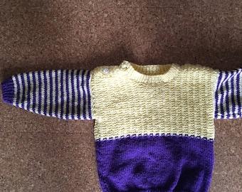 Retro Hand knitted Jumper - 9-12 months