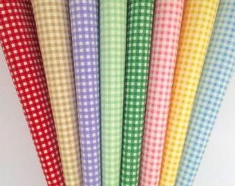 Wedding Favour Fabrics Gingham Cotton Covers Mini Jar Tops