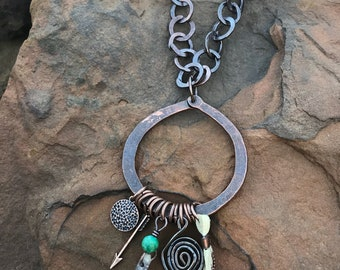 Handmade Hand Forged Copper Boho Tassel Necklace - Bohemian Chic - Hammered Wire Necklace