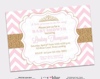 Princess Baby Shower Invitation Pink Chevron Gold Glitter Little Princess Invitation Girl Baby Shower Invite - Printable Digital File