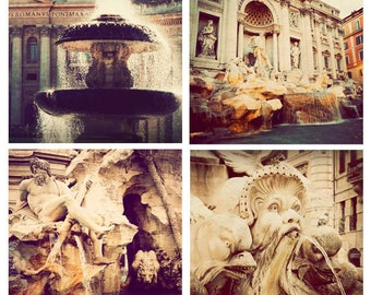Rome photography, set of 4, square photographs, sale, discounted, print set, Roman fountains, vintage, Italy photos, fine art
