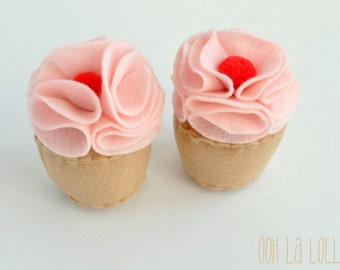 Felt Cupcakes with Strawberry Frosting and a Pom Pom Cherry on top