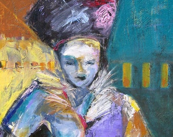 OOAK colorful acrylic painting of lady with hat.