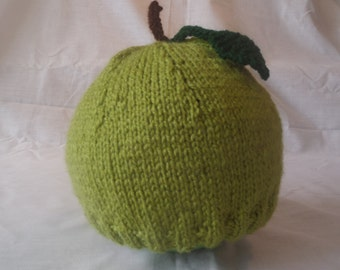 Hand Knitted Fresh Apple Beanie Hat (Baby, Toddler and Child Sizes)