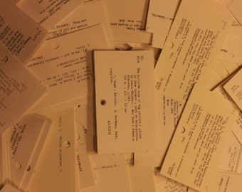 30 Vintage Library catalog cards