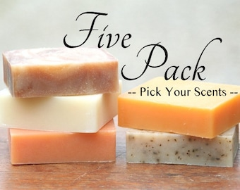 FIVE PACK - Goat Milk Soap Variety Pack - All Natural Soap - Discount Soap - Handmade Soap - Cold Process Soap - Handcrafted Soap Bar