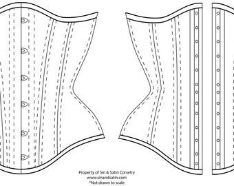 "Digital Download: Sin & Satin Curvy Underbust Corset, size 16""-40"" waist, no seam allowance/ sewing instructions included."