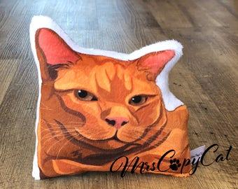 Orange Tabby Pillow - Tabby Cat Mini Pillow - Cat Portrait Stuffed Toy - Cat Lover Gift Idea - Artist Pillow - Cat Softie Toy - Striped Cat