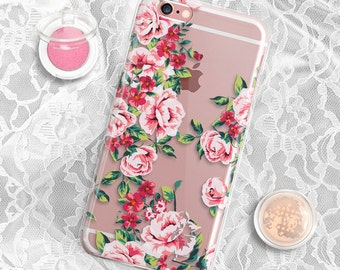 Rubber Clear Samsung S6 case Floral iPhone SE case Clear iPhone 5s case Rubber Floral Samsung Galaxy S6 Edge Case Clear iPhone 6 Case Clear