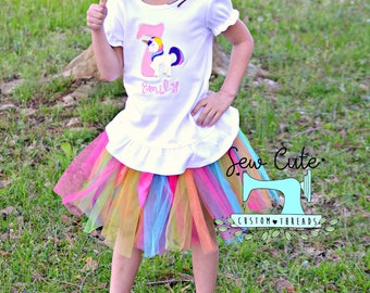 Unicorn Birthday- Rainbow, Ruffle, Cotton, White, Birthday Theme, Unicorn, Number, Rainbow theme, Princess, Handmade, horse, Horn, Colorful