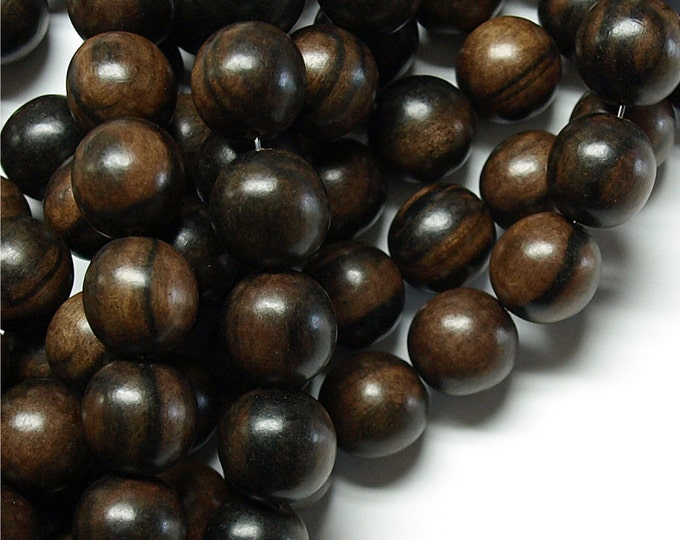 Wood Bead, Round 12mm, Tiger Ebony - Five 16 Inch Strands (WDRD-12TE)