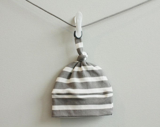 baby hat grey stripe Organic knot modern newborn shower gift photography prop hospital outfit accessory neutral girl boy