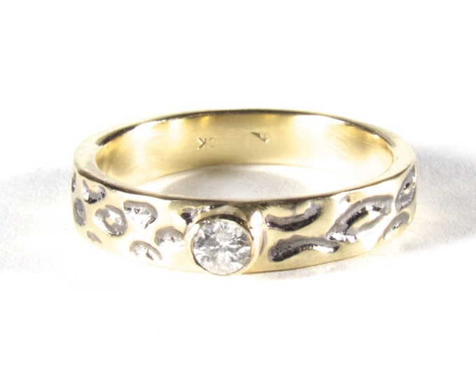 Gold Engagement Ring, Leopard Print Diamond Engagement Ring