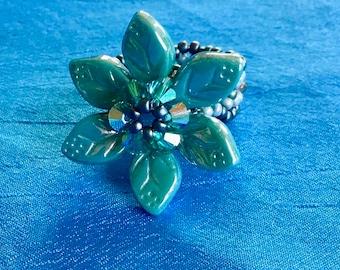 Rings, Jewelry, Beadedl Flower Ring
