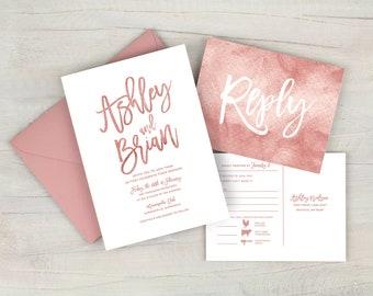 dusty rose wedding invitation mauve wedding invitation suite dusty pink wedding invitation boho wedding printed invitations