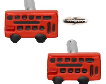 Personalized name cufflinks.Bus cufflinks.Red cufflinks.Car cufflinks