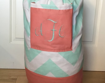 Monogrammed Laundry Duffel Bag, Coral, Teal & White Chevron, Laundry Bag, Laundry Bag for College, Hanging Laundry Bag, Laundry Hamper