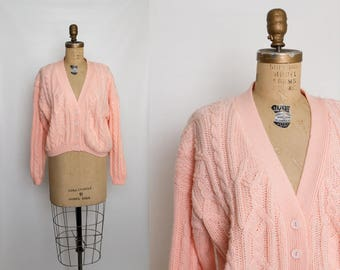vintage 80s slouchy peach cardigan sweater