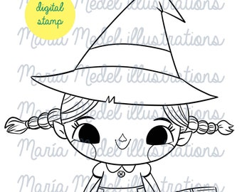HALLOWEEN LITTLE WITCH- digital stamp, line art illustration for scrapbooking, card making, adult and kids coloring,  crafts.