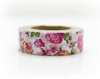 Watercolor Red Flower Washi Tape - Craft Supplies - Planner Stickers - Erin Condren - Scrapbooking - Bujo Journal - Deco Tape - Love My Tape