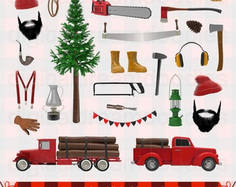 Lumberjack Clipart, Lumberjack Clip Art, Logger Graphic, Outdoor Lumberman Chainsaw, Feller Axe Image, Log Saw Scrapbook, Digital Download