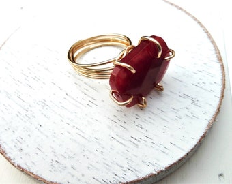 Handmade Wire Wrapped Ring With Red Quartz Size 7 Gold Color Non-Tarnish Wire 18 Guage