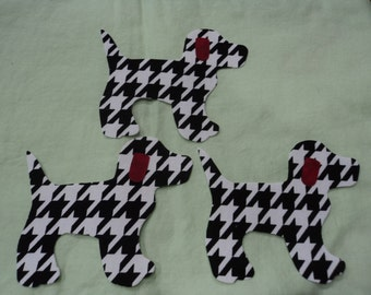 """Die Cut Applique Shapes. Set of 3,  Houndstooth Black/White Fabric,   4 1/2 x 4 """"  Gingham Dog Shapes.  Right-facing.  Fusible (Iron On)."""