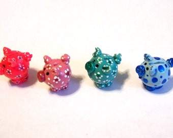 1 Piggy Ball Bank Hand Sculpted and Painted Artisan Miniature Toy Your Choice of Color 1:12 Scale or Smaller