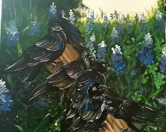Ravens in a Lupine Field
