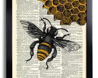Bees Bee Art Print Vintage Book Print Recycled Vintage Dictionary Page Collage Repurposed   Book Upcycled Dictionary 411