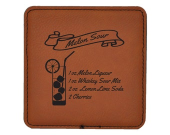 Melon Sour Drink Coasters - Traditional Mixed Drink Recipies - Choice of Coaster Color and Shape - 083