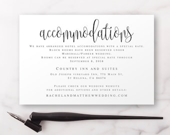 Accomodations card Editable templates Accommodation insert templates Wedding invitation enclosure cards Wedding template printable #vm41