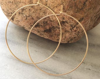 "0.75"" 1.5"" Gold / Simple Gold Hoop Earrings, Thin Hoop Earrings."