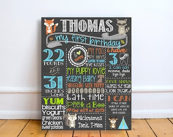 custom woodland first birthday chalkboard sign, forest animals first birthday decorations, personalized 1st birthday sign, cake smash props