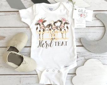 Baby Shower Gift, Herd That, Country Baby, Farm shirt, Cowgirl shirt, Cow Onesie®, Farm Baby Gift, Cute Baby Clothes, Cow Theme, Farm baby