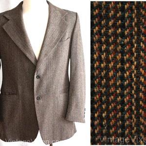 Men's Medium Jacket - 60s Designer Pierre Cardin - 1960s Brown Tweed Men's Sport Coat - Made in France Boutique Label - Chest 42 - 34977-1 JXtRWISkK