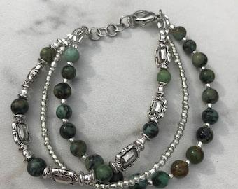 Multi strand bracelet with Afghani Turquoise Stones