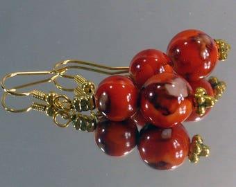 Persimmon Orange Earrings: Handmade Earrings, Nickle-Free Earrings, Gifts for Her, Handmade in the USA, Asian Look Earrings