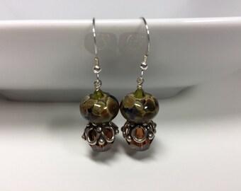Capped Swarovski Crystal and Tortoise Shell Lampwork Earrings
