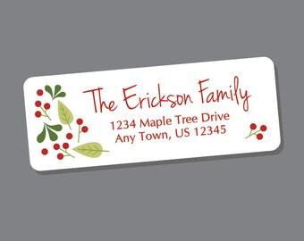 Christmas Address Labels, Winter Return Address Stickers, 60 labels, Christmas Address Stickers, Holiday Labels, Winter Berries Red Green