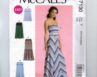 Misses Sewing Pattern McCalls M7130 7130 Misses Pull On Stretch Knit Maxi Skirt Dress Lularoe Style Size 4 6 8 10 12 14 XS S M UNCUT