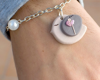 Sweet Bird Bracelet. Polymer clay.