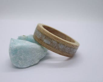 WOOD RING, Wooden ring with amazonit