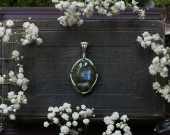 Small Wire Wrapped Icy Gray Oval Labradorite Pendant