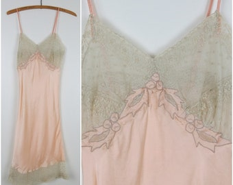 Vintage 30s/40s Peach & Lace Full Slip - Beau Monde - Bust 30 (B3)