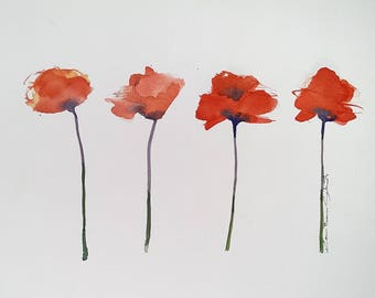 Four Red Poppies Painting, Original poppy watercolor,  9 x 12 inches, contemporary, modern poppy art