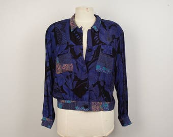 Carole Little Petites Cropped Jacket Blouse 80s 90s Blue Black Floral Print Lightweight unstructured Bomber Medium to large