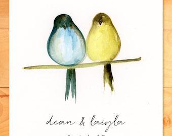Digital file, Watercolor Digital Print, Personalized Art, Wedding, Gift, Love, Birds, Custom Digital Art
