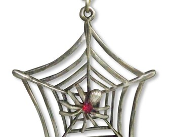 Spider in Web with Red Crystal Antique Silver Finish Pewter Pendant Necklace NK-469