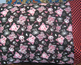 Skeleton Animals Day of the Dead Gothic Pink Black Checkered Cotton Fabric Standard Pillowcase